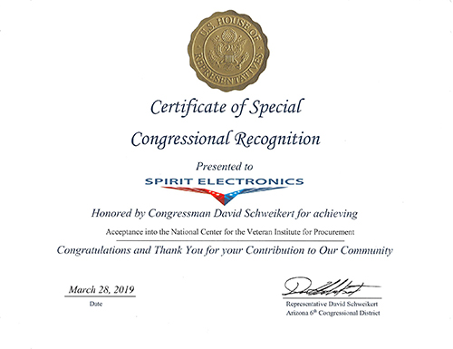 Congressional Recognition Certificate
