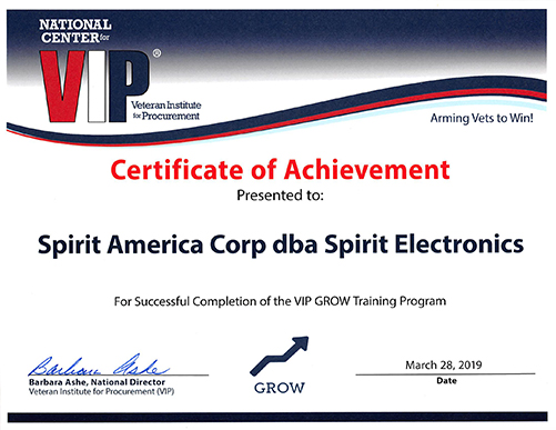 Spirit Achieves VIP Certificate