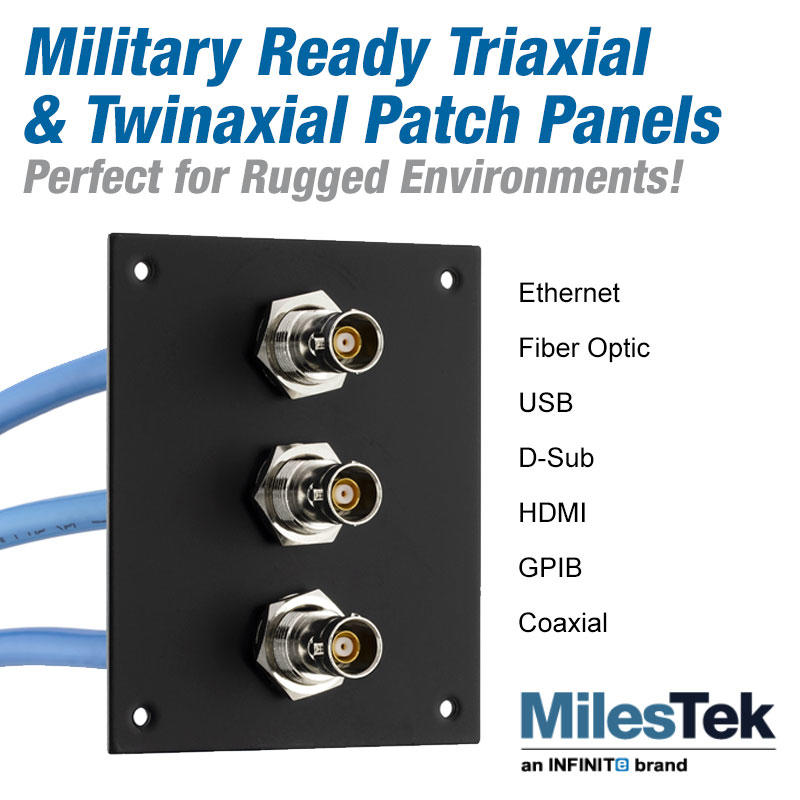 Military ready triaxial and twin axial patch panels from MilesTek